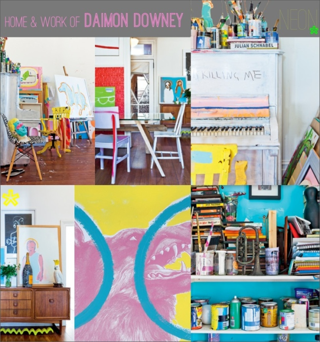 A collage of the artist Damien Downeys home along with an example of his artwork.