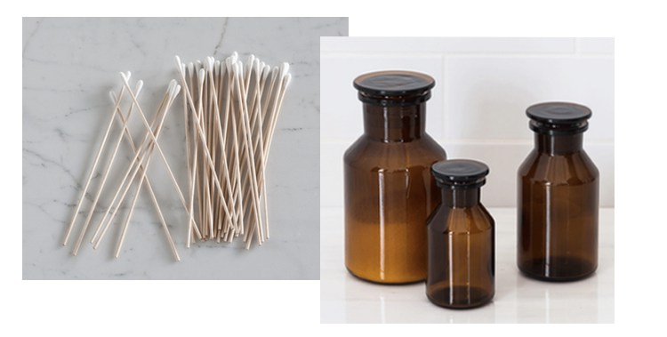 Wooden Cotton buds & Amber apothecary jars